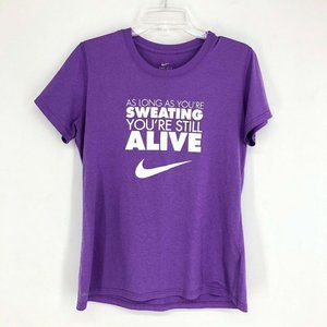Nike Dri Fit Top Women Medium Purple Running Athletic
